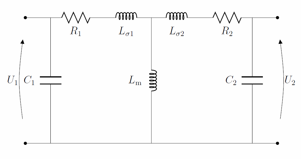 Equivalent circuit for the coupling.